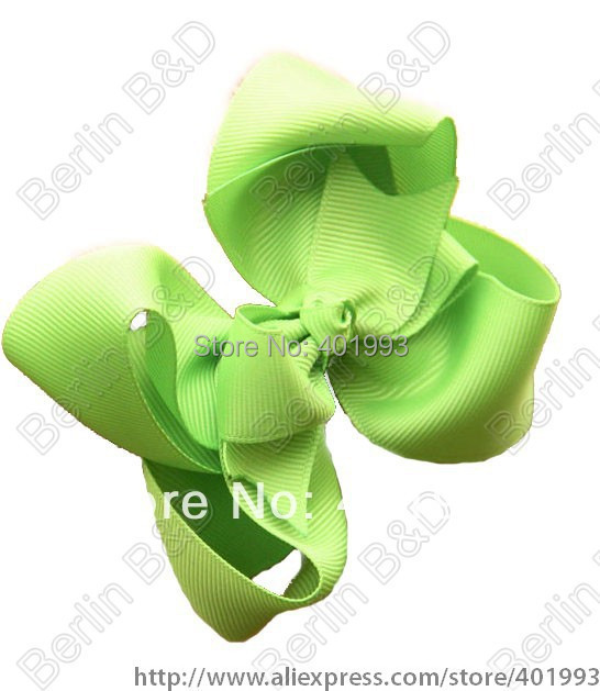 "Free shipping 60pcs/lot Mixed 18colors Hair Bow - 4"" Medium Double Layer Girl Bow Boutique Bow - Green Bow for toddlers(China (Mainland))"