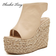 2015 New Summer Fashion Womens wedges open toe Sexy High Heels platform Shoes sandals peep toe Weaving dress ladies pumps S212(China (Mainland))