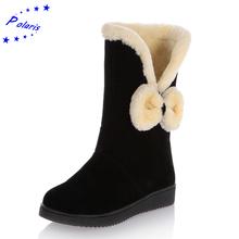 Mujeres Botas 2015 de La Moda de Felpa Nieve Botas A Media Pierna Punta Redonda Slip-On de Goma Botas de Invierno Zapatos de Las Mujeres negro Rojo de Color Caqui SB447(China (Mainland))