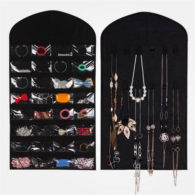 Jewelry Closet Dress Storage Bag 32 P-ocket Hanging Jewelry 18 Stickers Organizer Sides Space-saving Household Accessory(China (Mainland))