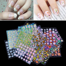 NEW Fashion 30 Sheet 3D Mix Color Floral Design Nail Art Stickers Decals Manicure Beautiful Nail Sticker Accessories Decoration(China (Mainland))