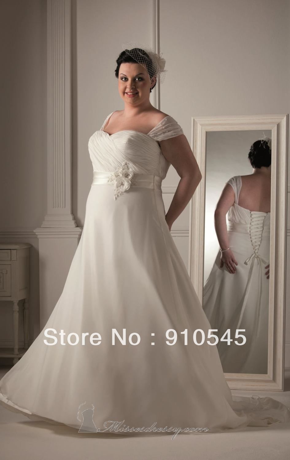 Hot sell a line cap sleeve chiffon fashion plus size for Corset for wedding dress plus size