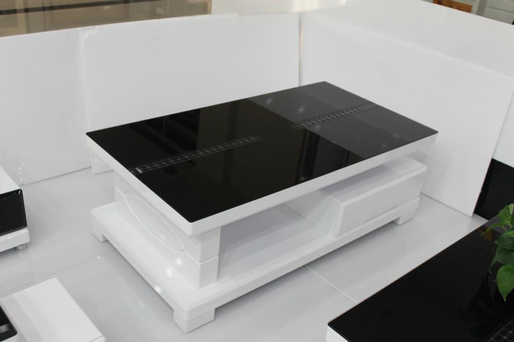Modern minimalist glass coffee table storage coffee table for Small glass coffee table modern