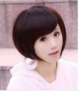 free shipping 2015 Fashion Lady Sexy Stylish Short Bob Wig Straight Synthetic Wigs Cosplay Hairpiece Full Lace Wig+free wig cap(China (Mainland))