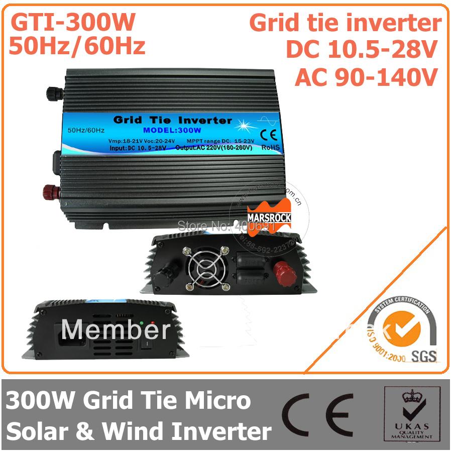 300W 18V Grid Tie Inverter, 10.5-28V DC to AC 90-140V Pure Sine Wave Inverter for 18V Solar Module with CE, ROHS, FCC Approved(China (Mainland))