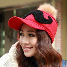 Autumn and winter plus velvet thickening warm hat women s mustache knitted hat rabbit fur ball