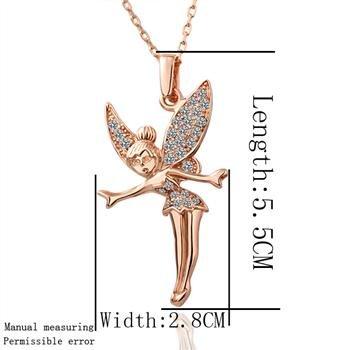 Rose Gold 18k Luxury Women Necklaces Elegant Light Blue Gem Rhinestone Charming Fairy Pendant Necklace Fashion
