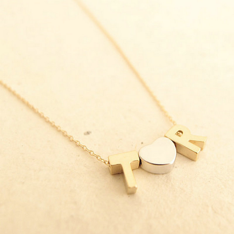 Personalised monogram necklace initial necklace fine gold chain heart pendant letter name necklaces couple love gift for her 515(China (Mainland))