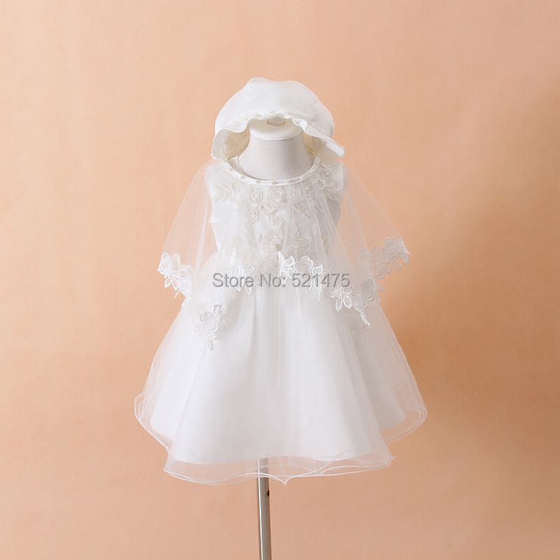 2015 Newborn Baby Christening Gown Infant Girl's White Princess Lace Baptism Dress Toddler Baby Girl Chiffon Dresses 3pcs/set(China (Mainland))