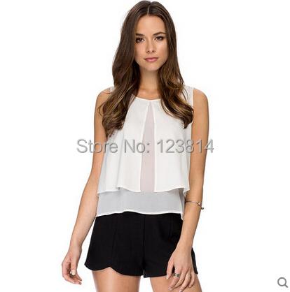 Casual Fashion Women Black White Chiffon Shirt O-Neck Slim Sleeveless Asymmetrical Designed Front & Back Forked Top Blouse D862 - La Belle Boutique store