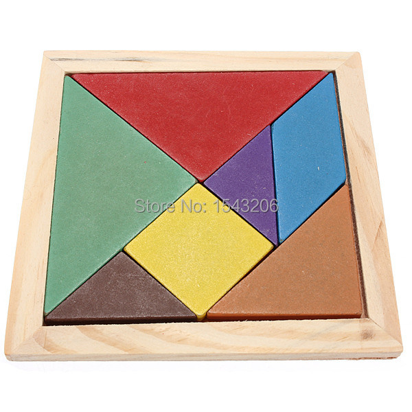 2015 New Children Mental Development Tangram Wooden Jigsaw Puzzle Educational Toys For Kids Wholesale(China (Mainland))