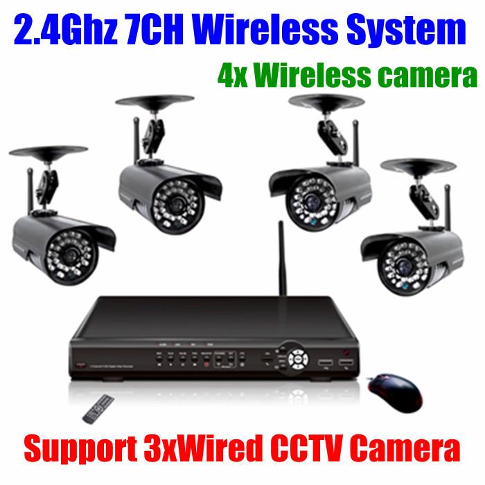 7ch H.264 D1 DVR CCTV Security 2.4Ghz Digital CCTV Wireless IR Nightvision Waterproof Outdoor Audio video Camera System Kit