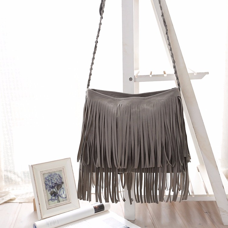 Hippie Suede Fringe Tassel Messenger Bag Women Hobo Shoulder Bags Crossbody Handbag (6) -