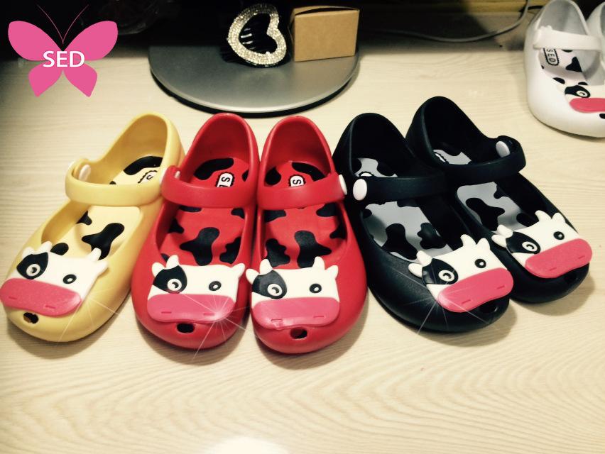 2015 New Brand Baby Boys&Girls Summer Cute Cow Rubber Mini Melissa Jelly Sandals Children Beach Sandalias Shoes Chaussure Fille(China (Mainland))
