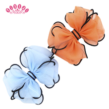 Buy TINSAI Fashion Hand Made 5 Inch Big Chiffon Hair Bow Baby Girl Solid Hair Bows Clips Children Hair Accessories 2016 for $1.14 in AliExpress store