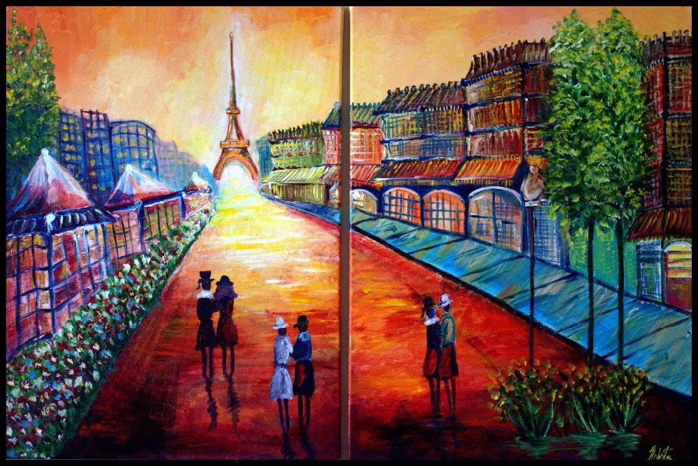 2015 Paris Symphony Coastal City Eugeny for Lushpin Oil Painting Picture Art Giclee Print On Canvas Large Landscape Wall Decor(China (Mainland))