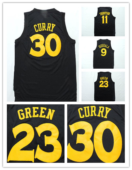#23 Draymond Green Golden State 30 Stephen Curry 11 Klay Thompson Jersey 9 Andre Iguodala New Logo Black Chase Fashion Jersey(China (Mainland))