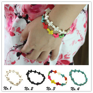 Min.order is $10 (mix order) Free shipping Fashion Jewelry Cross Turquiose Bracelet For Women