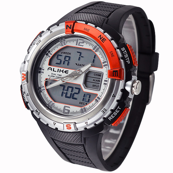 Fashion Brand Alike Men Sports Watches Waterproof 50M Quartz Digital LED Watch Rubber Strap Military Watch Women Men Wristwatch