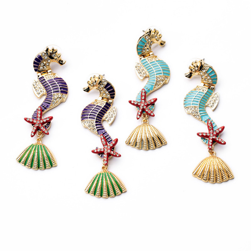 Women's fashion brand new arrival personalized gorgeous colourful sea horses earrings E0554(China (Mainland))