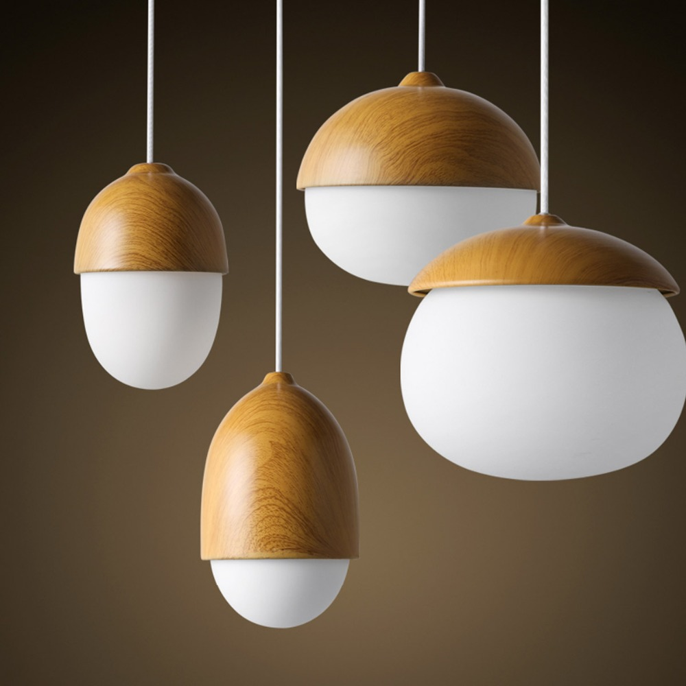 Nordic Style Ike Home Decorative Wood Pendant Light Nut Egg Shaped Bar Cafe Bedroom Pendant Lamp