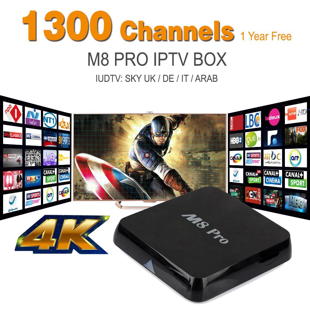 Sky IPTV Box,M8 Pro Android TV Box European Arabic IPTV Receiver 1300 European Arabic Sky DE IT UK Iptv Channels Batter Than M8S(China (Mainland))