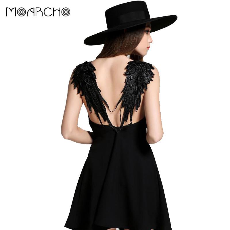 MOARCHO Summer Dress 2017 casual Slim Sexy Backless Black Lace Angel Wings Beach Dresses spaghetti strap Vestidos de fiesta