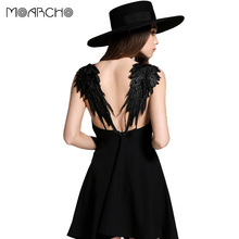 Buy MOARCHO Summer Dress 2017 casual Slim Sexy Backless Black Lace Angel Wings Beach Dresses spaghetti strap Vestidos de fiesta for $9.09 in AliExpress store