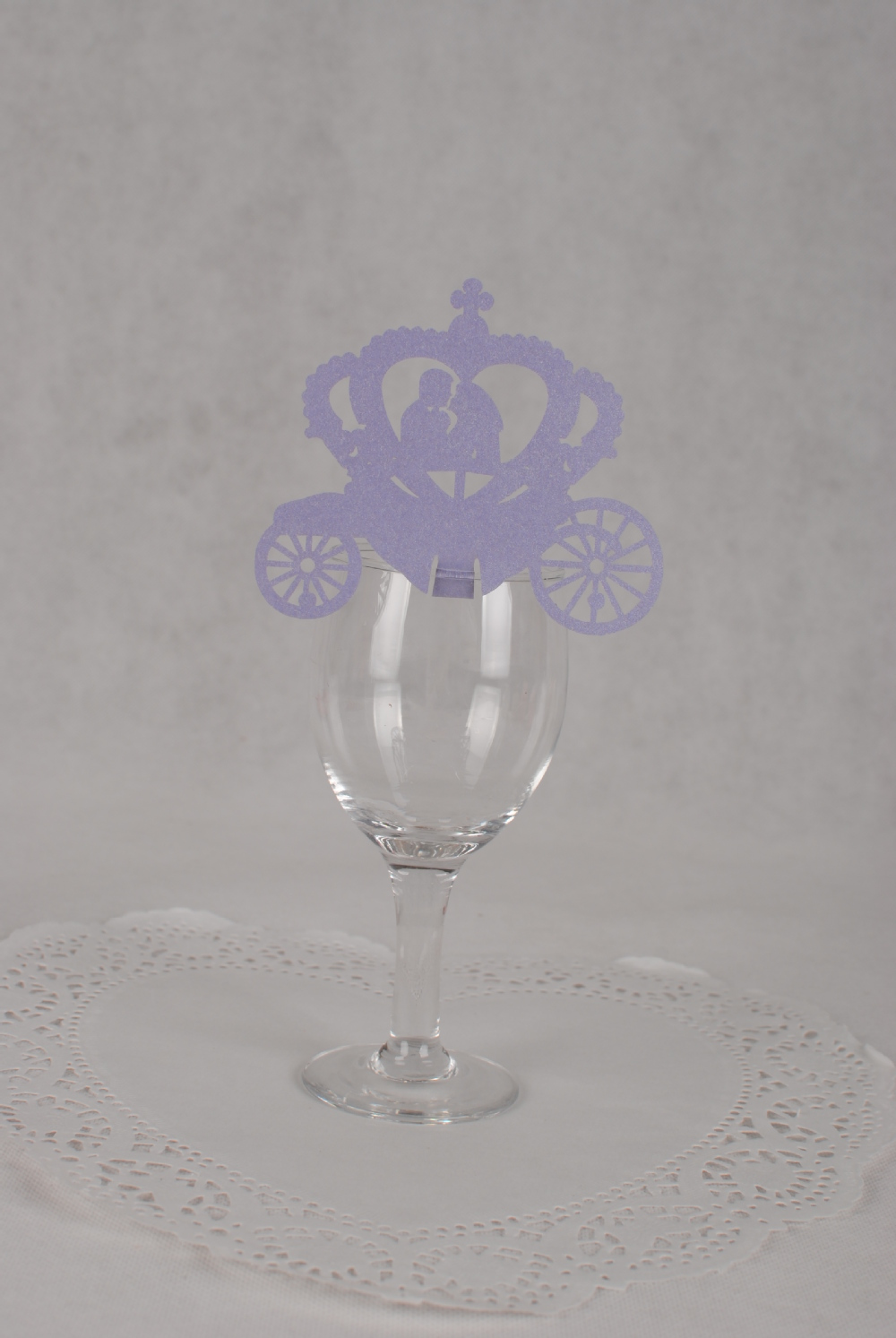 Wedding carriage Purple Place Cards, Laser Cutting Wedding carriage wine glass
