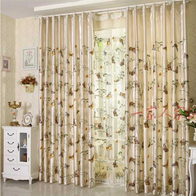 Butterfly High Quality Curtain Fabric Fashion Rustic
