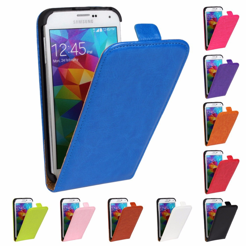 Free shipping Crazy Horse PU Leather Flip Cell Phone Case Cover For Samsung Galaxy S5 i9600(China (Mainland))