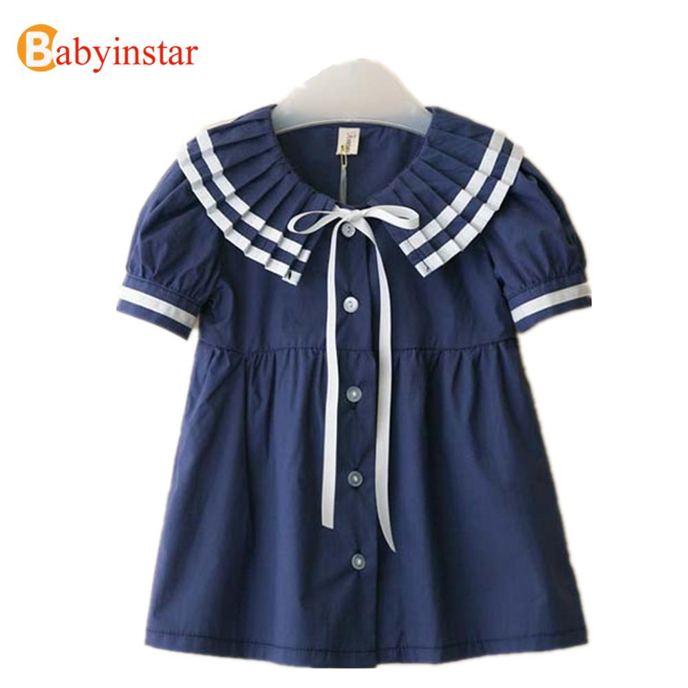 Clearance Sale 2016 Summer Navy Style Girls Dress Baby Girls Clothes Pleated Turn-down Collar Dress Girl Apparel Kids Dresses(China (Mainland))