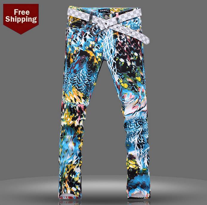 Фотография Spring coloured drawing fashion biker singer star printed skinny jeans men pant slim fit mens denim trousers straight street