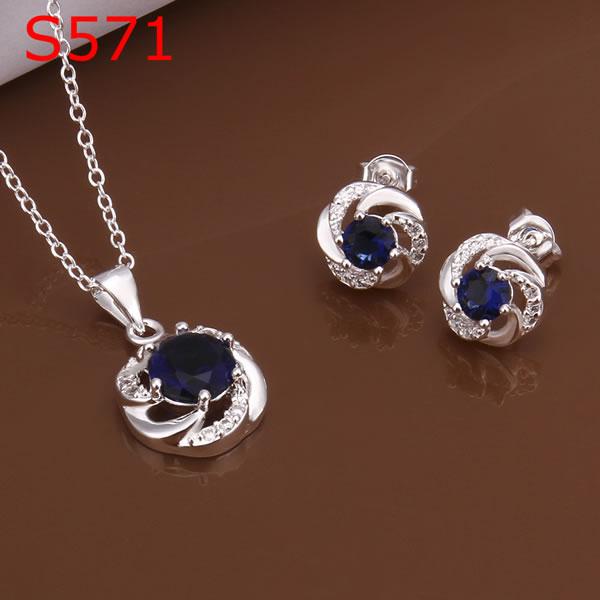 Women Silver Jewelry Sets 925 Trendy Beautiful Blue Crystal ziuo LSS571