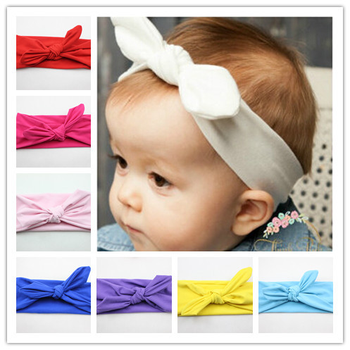 New Baby Cotton Headband White knot tie headband headwrap Vintage Head Wrap Photo Prop stretchy Knot Girls Hair Accessories(China (Mainland))