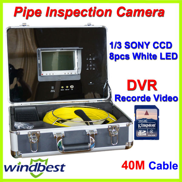 Freeshipping 7'' LCD Monitor CCTV Sewer Pipe Inspection SONY CCD Camera 40M Cable With DVR Record Video 8pcs LED Remote Control(China (Mainland))