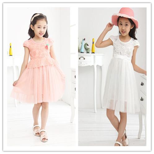 4T 6T 8T 10T 2014 Summer Chiffon Lace flower children dress  Princess high quality Girls  elegant Dresses <br><br>Aliexpress