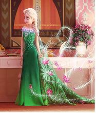 2016 Fever Elsa Anna Dress Girl Clothes halloween Princess Dress children Party Vestido Dress kid Green