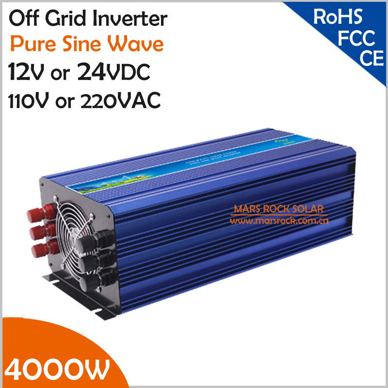4000W Off Grid Solar or Wind Inverter, 12V/24VDC 110V/220VAC Pure Sine Wave Power Inverter, Surge Power 8000W PV Inverter(China (Mainland))