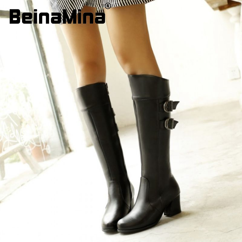 size 34-48 ladies high heel real genuine leather over knee boots winter warm long boot buckle motorcycle footwear shoes R8241<br><br>Aliexpress