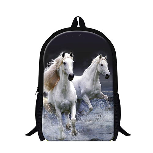 latest 3D animal printing school backpack for boys white horse back pack bag for for high school students,lightweight bookbags(China (Mainland))