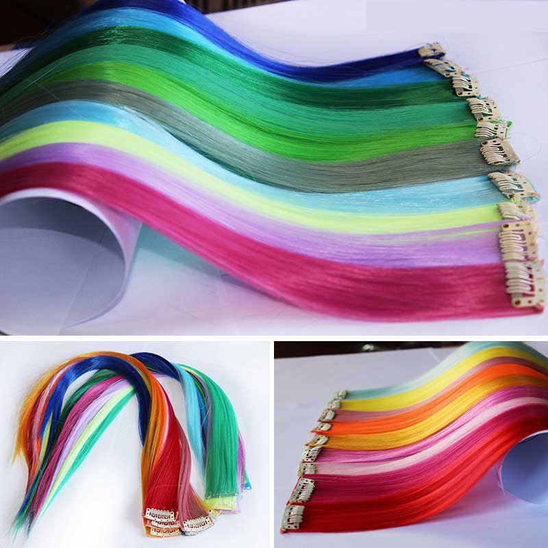 10pcs Straight Rainbow Fashion rooster solid feather ombre hair extension rainbow hair extensions Highlight Punk Hairpiece(China (Mainland))