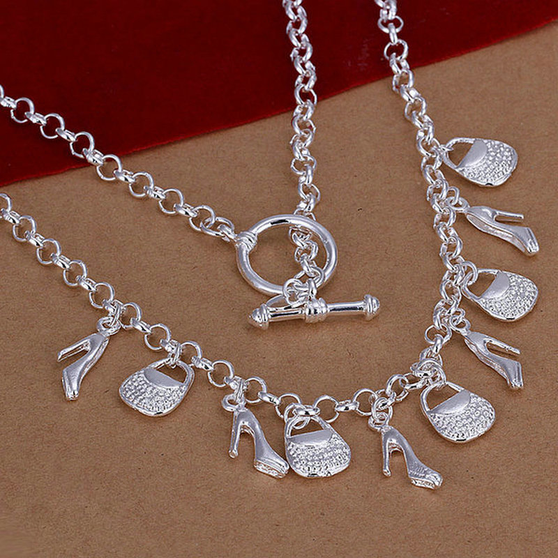 Promotion sale Free shipping, fashion jewelry ,925 sterling silver jewelry necklace,wholesale 10 charms bags shoes necklace N195(China (Mainland))