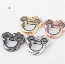 1PC Mixed Color Alloy Glass Necklace Pendant Charms Floating Mickey Head Locket 4 Colors(China (Mainland))