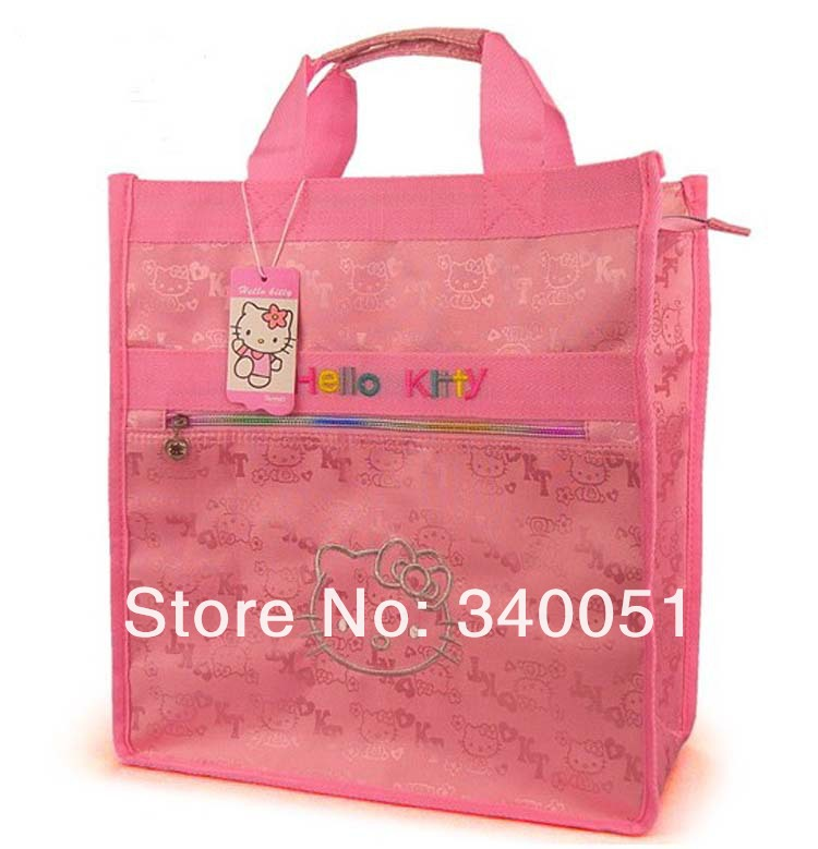 China Wholesale Women Handbags Hello Kitty Fashion Shopping Bag Pink Color (1 piece) Free Shipping(China (Mainland))