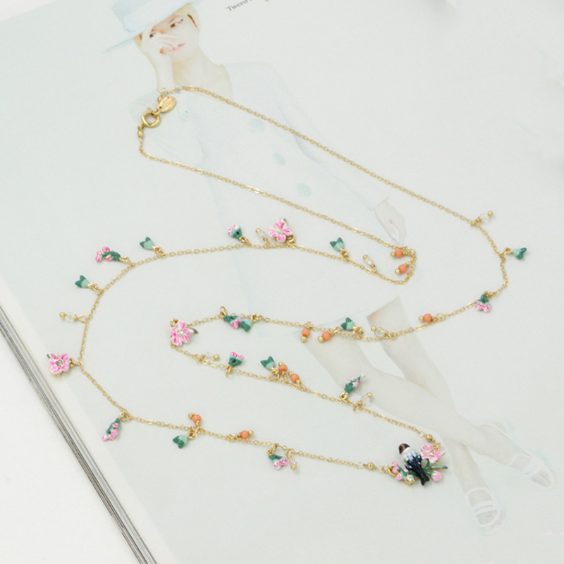 Luxury Romantic Pink Flowers Bird Necklace For Women Enamel High Quality Long Sweater Necklaces(China (Mainland))