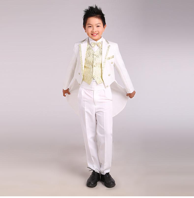 boy tuxedo male child set flower girl formal dress children piano suit Jacket + trousers + bow tie + girdle+shirt + waistcoat(China (Mainland))