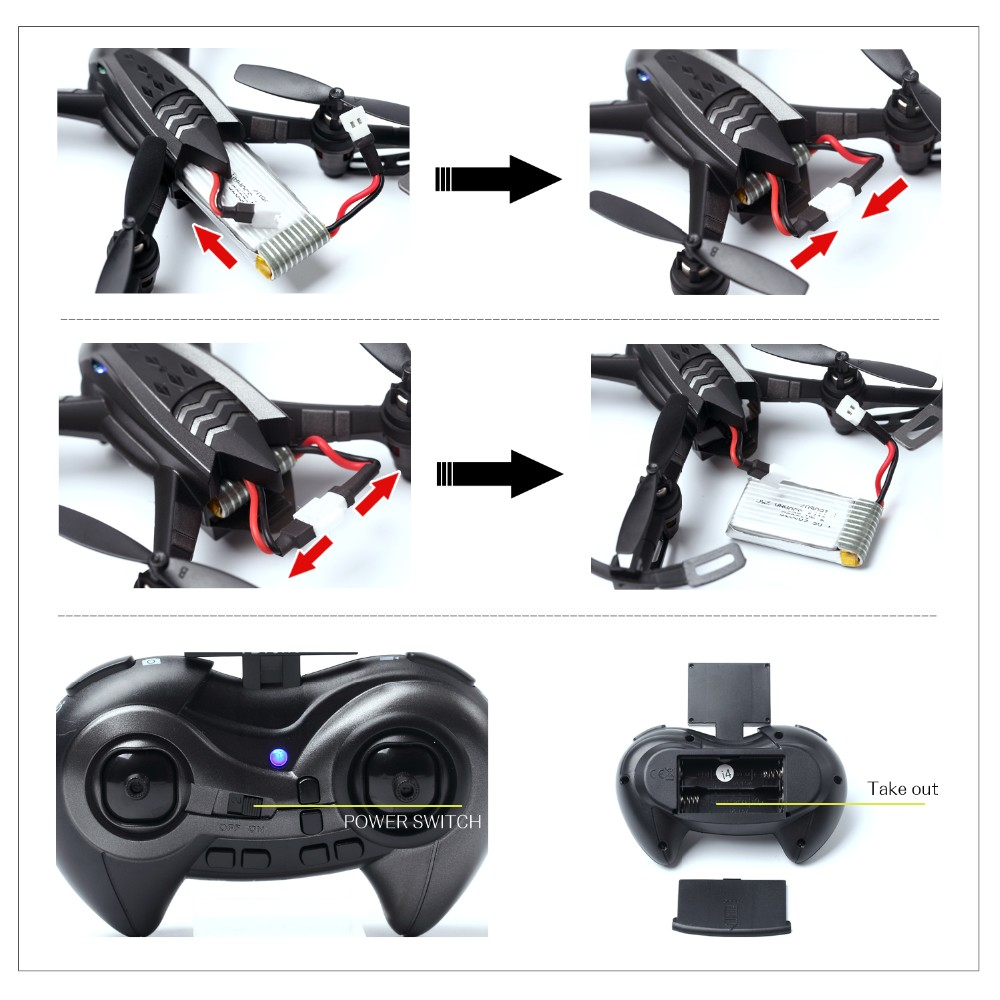 RC Drone with 2MP HD Camera Live Video RC Quadcopter 6-Axis Gyro Remote Control Quadcopter(4G SD Card & Card Reader Included)