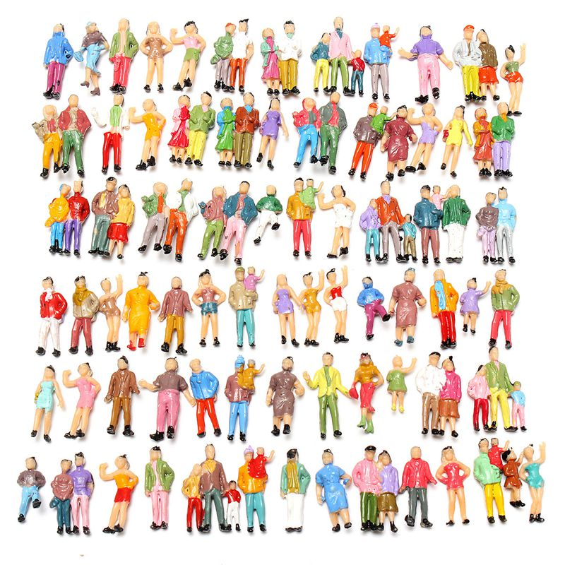 Wholesale 100pcs Mixed Painted Model Color People Passengers Figures Scale 1:87 Make the Model more Vivid easy to describe(China (Mainland))