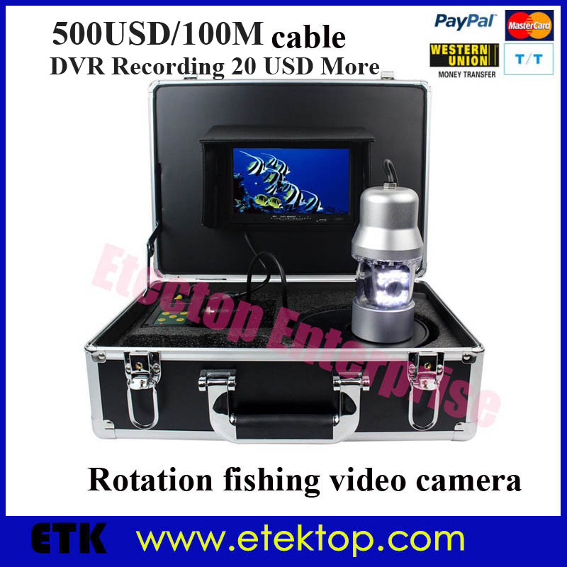 100M Cable Night Vision 360degree Rotation Underwater Sony CCD Camera For Fishing 4000mah Battery 7'Color Monitor DVR Recorder(China (Mainland))
